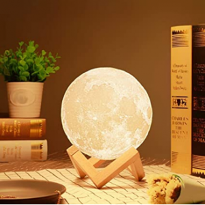 Rylan Colour Changing Sensor Touch Decoration 3D Crystal Ball USB Rechargeable Moon Night Lamp with Wooden Stand (15 cm)